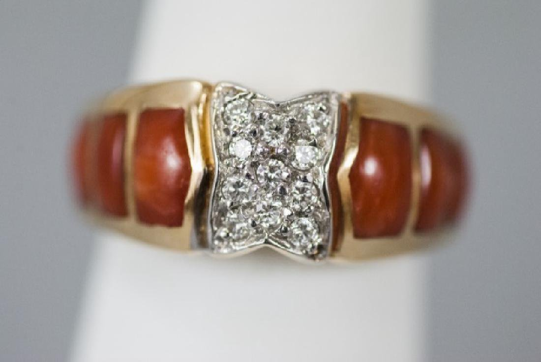 Estate 14kt Yellow Gold Coral & Diamond Ring - 5