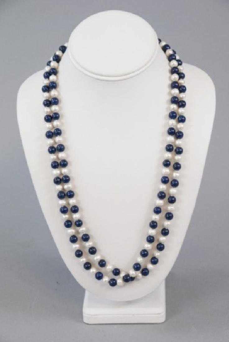 Hand Knotted Lapis Lazuli & Pearl Necklace Strand - 2