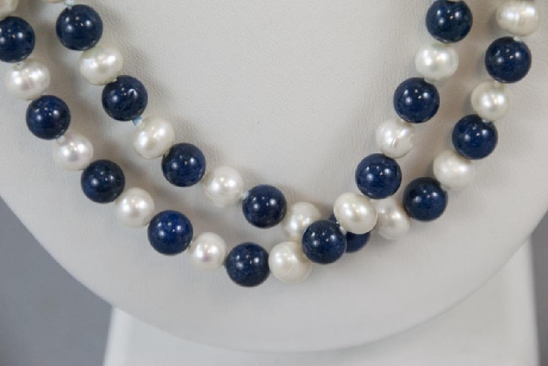 Hand Knotted Lapis Lazuli & Pearl Necklace Strand - 4