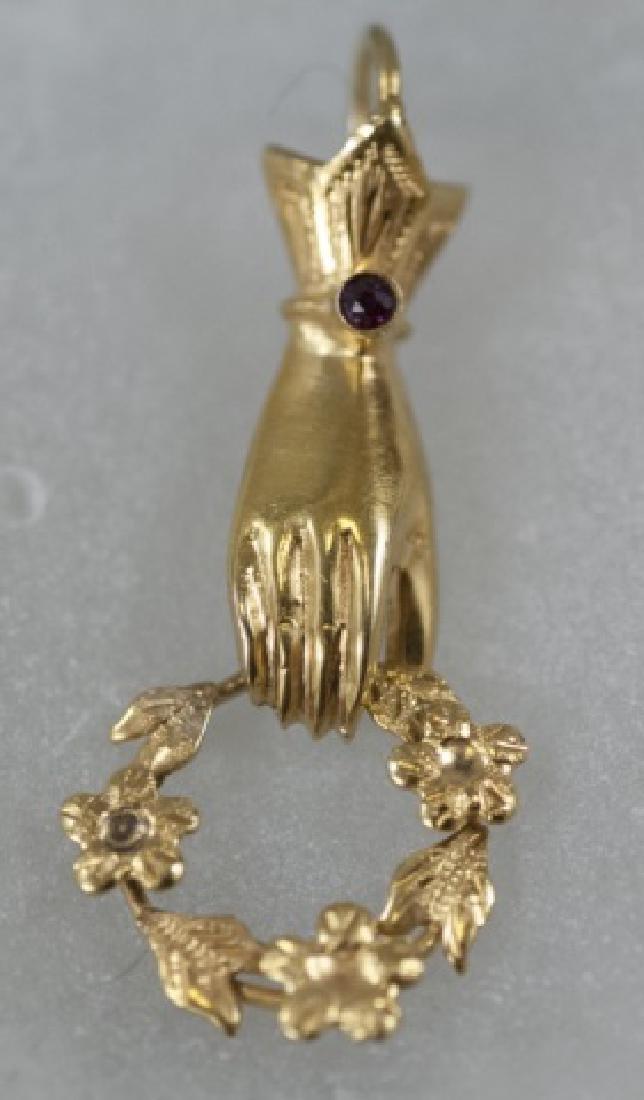 Antique 14kt Gold & Ruby Figural Necklace Pendant