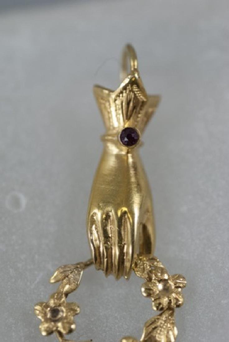 Antique 14kt Gold & Ruby Figural Necklace Pendant - 2