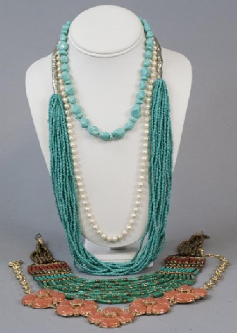 Four Costume Jewelry Statement Necklaces & Pearls