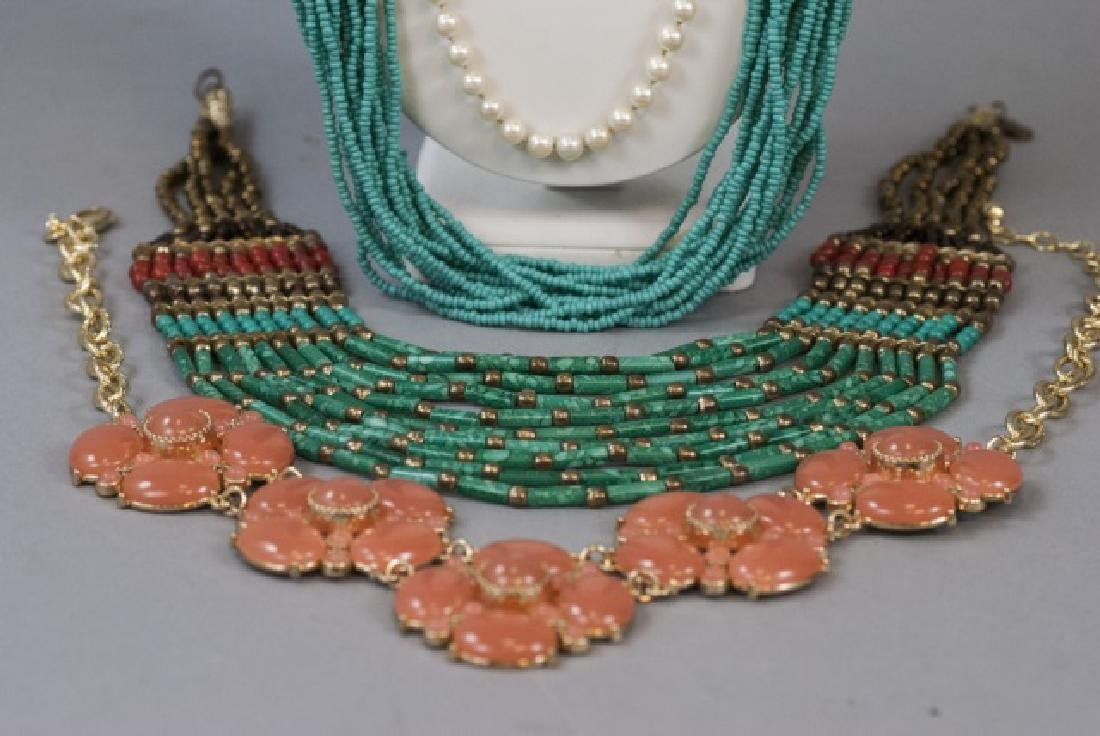 Four Costume Jewelry Statement Necklaces & Pearls - 2