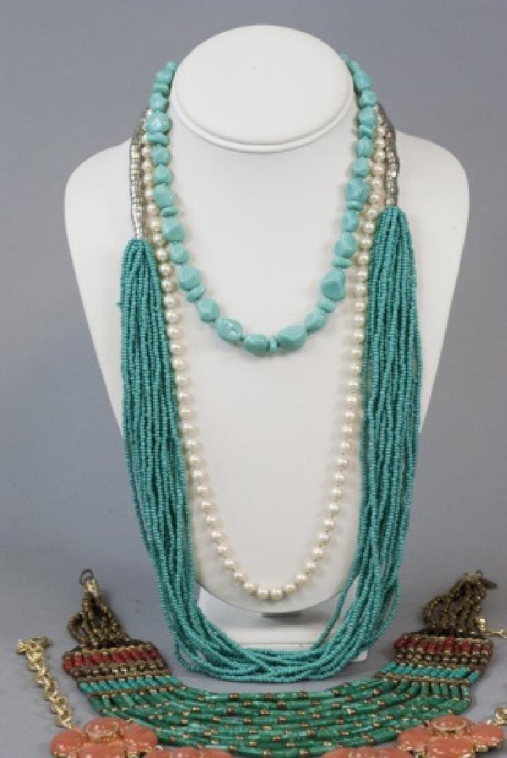 Four Costume Jewelry Statement Necklaces & Pearls - 3