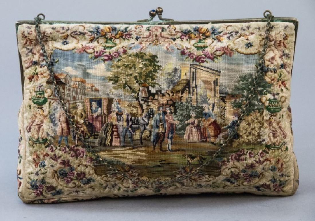Antique Fine Petite Point Tapestry Hand Bag Purse