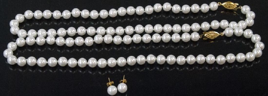 Pair Akoya Style Pearl Necklaces & Stud Earrings
