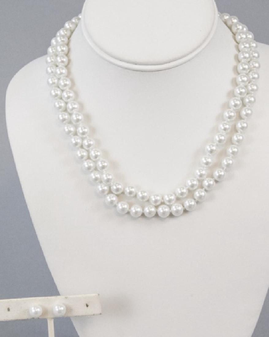 Pair Akoya Style Pearl Necklaces & Stud Earrings - 2