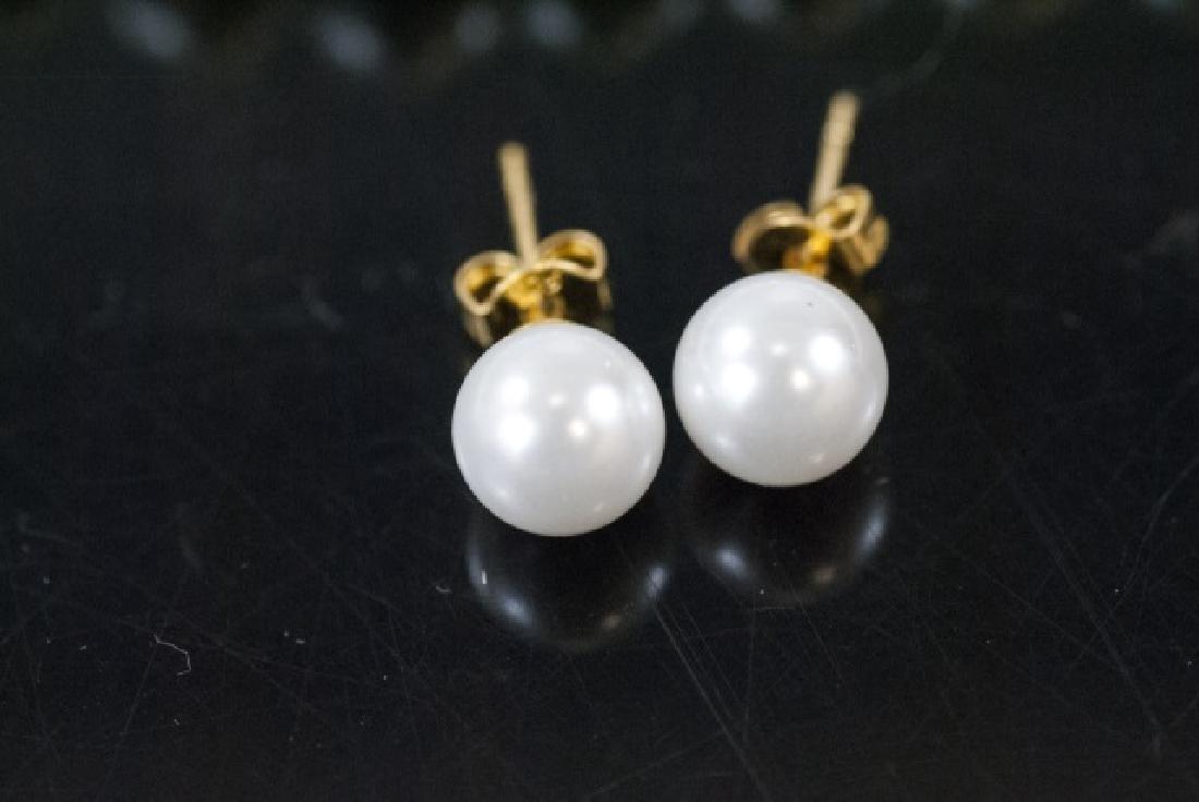 Pair Akoya Style Pearl Necklaces & Stud Earrings - 4