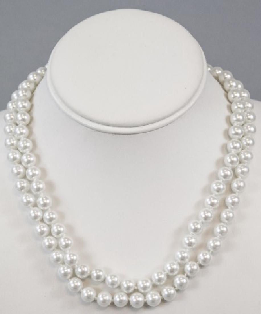 Pair Akoya Style Pearl Necklaces & Stud Earrings - 5