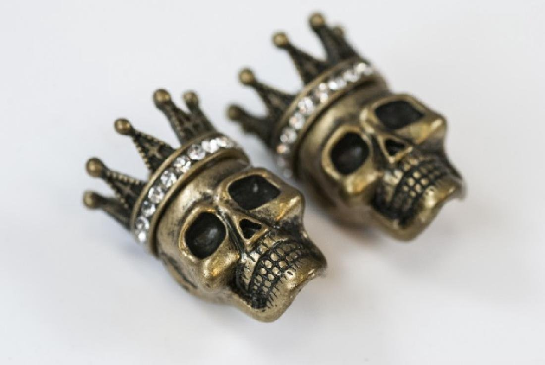 Pair of Jewelry Pendants - Human Skulls w Crowns