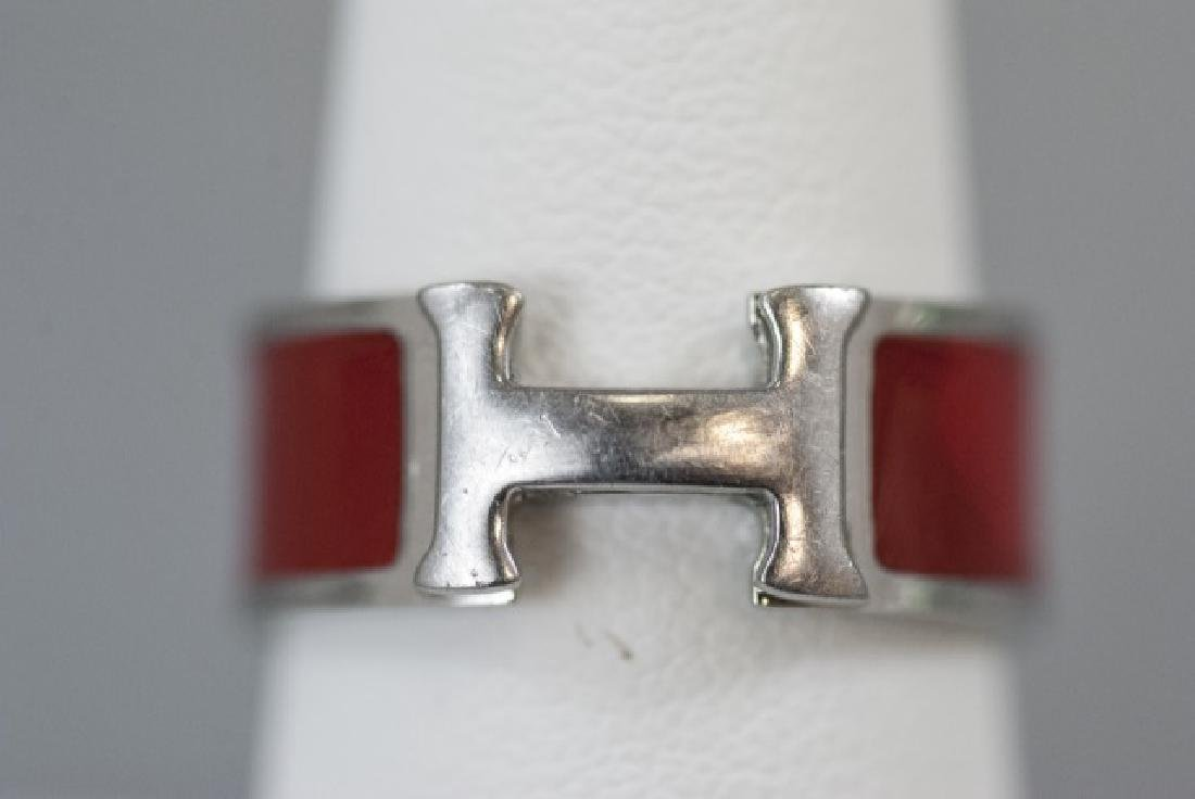 Vintage Hermes Sterling & Red Enamel H Ring