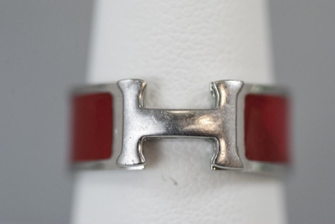 Vintage Hermes Sterling & Red Enamel H Ring