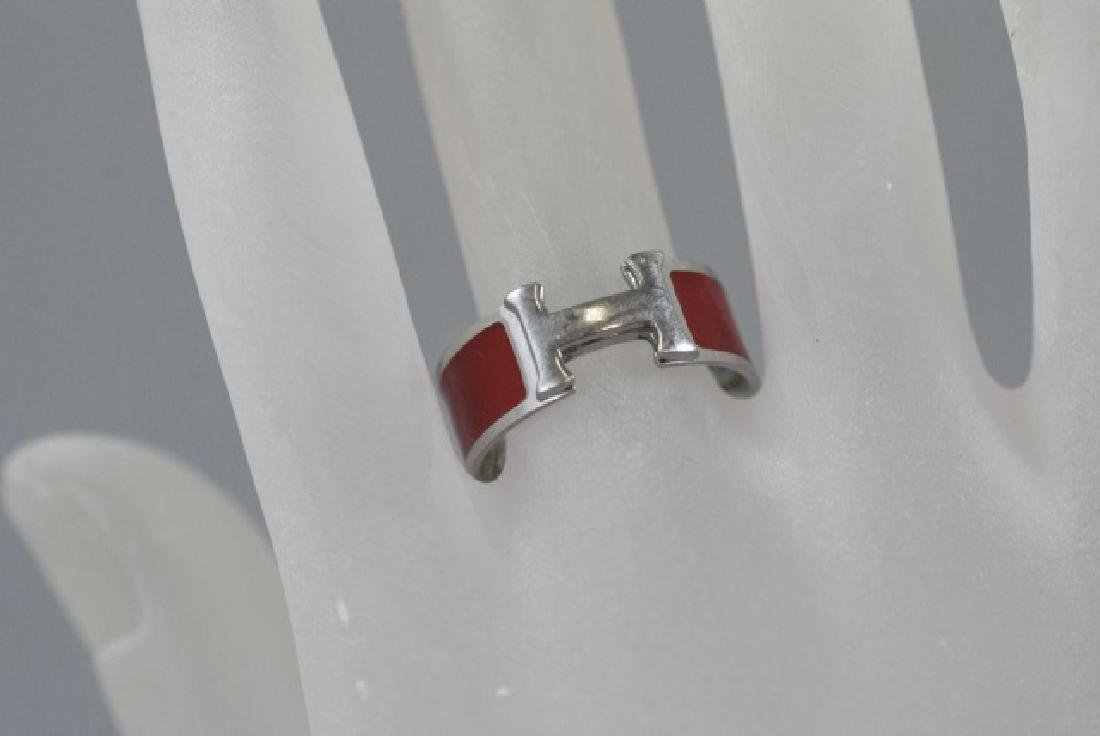 Vintage Hermes Sterling & Red Enamel H Ring - 4