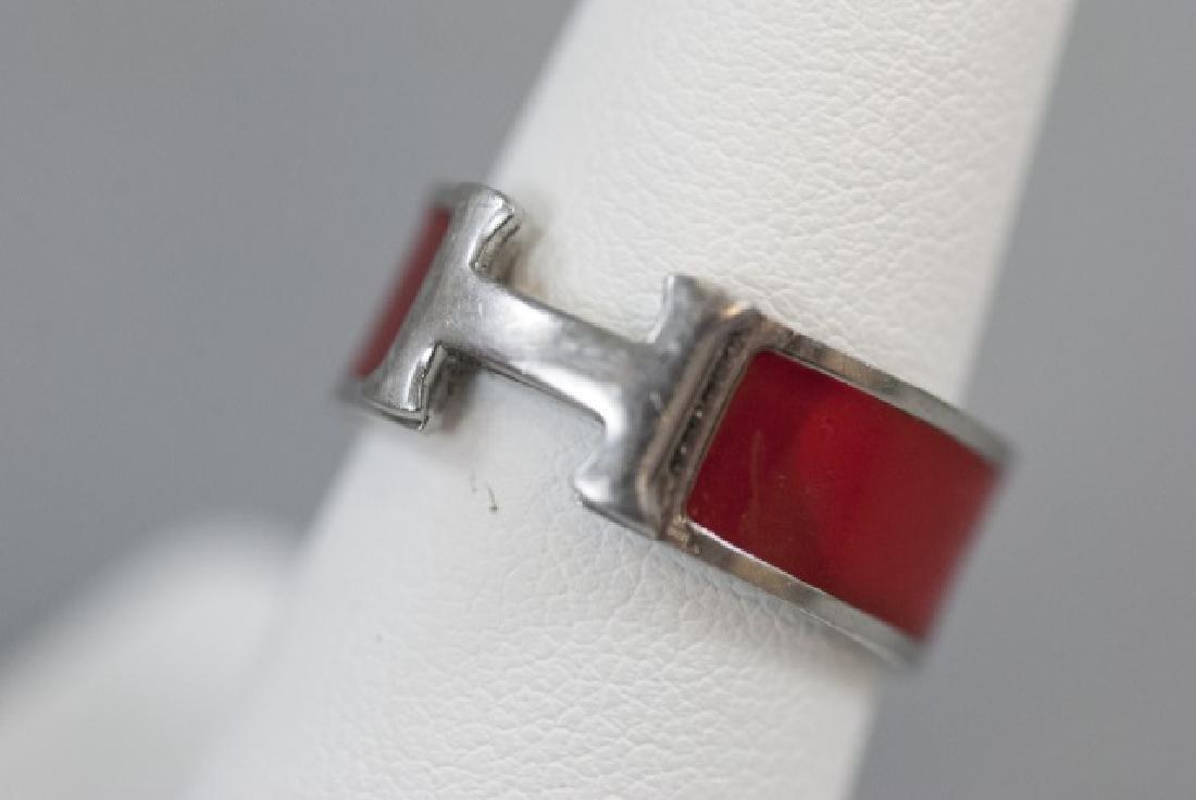 Vintage Hermes Sterling & Red Enamel H Ring - 5