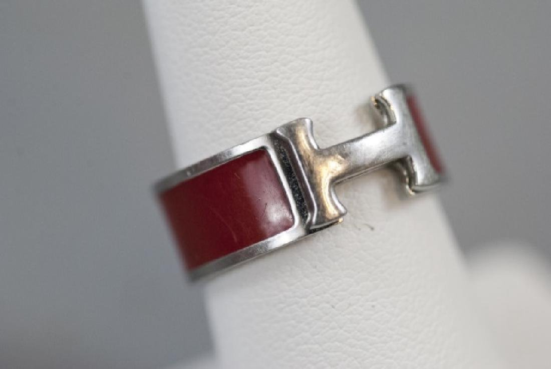 Vintage Hermes Sterling & Red Enamel H Ring - 6
