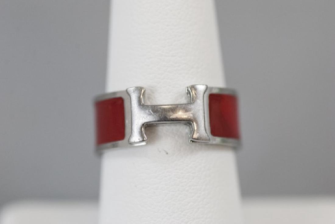 Vintage Hermes Sterling & Red Enamel H Ring - 7