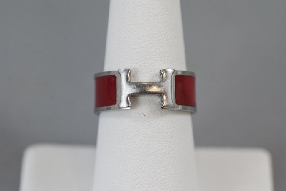 Vintage Hermes Sterling & Red Enamel H Ring - 8
