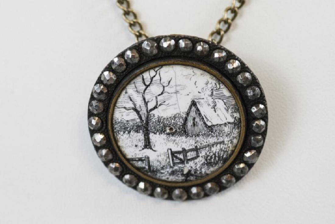 Antique 19th C Cut Steel & Enamel Button Necklace
