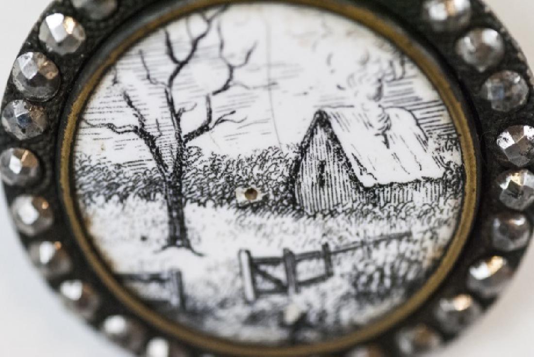 Antique 19th C Cut Steel & Enamel Button Necklace - 2