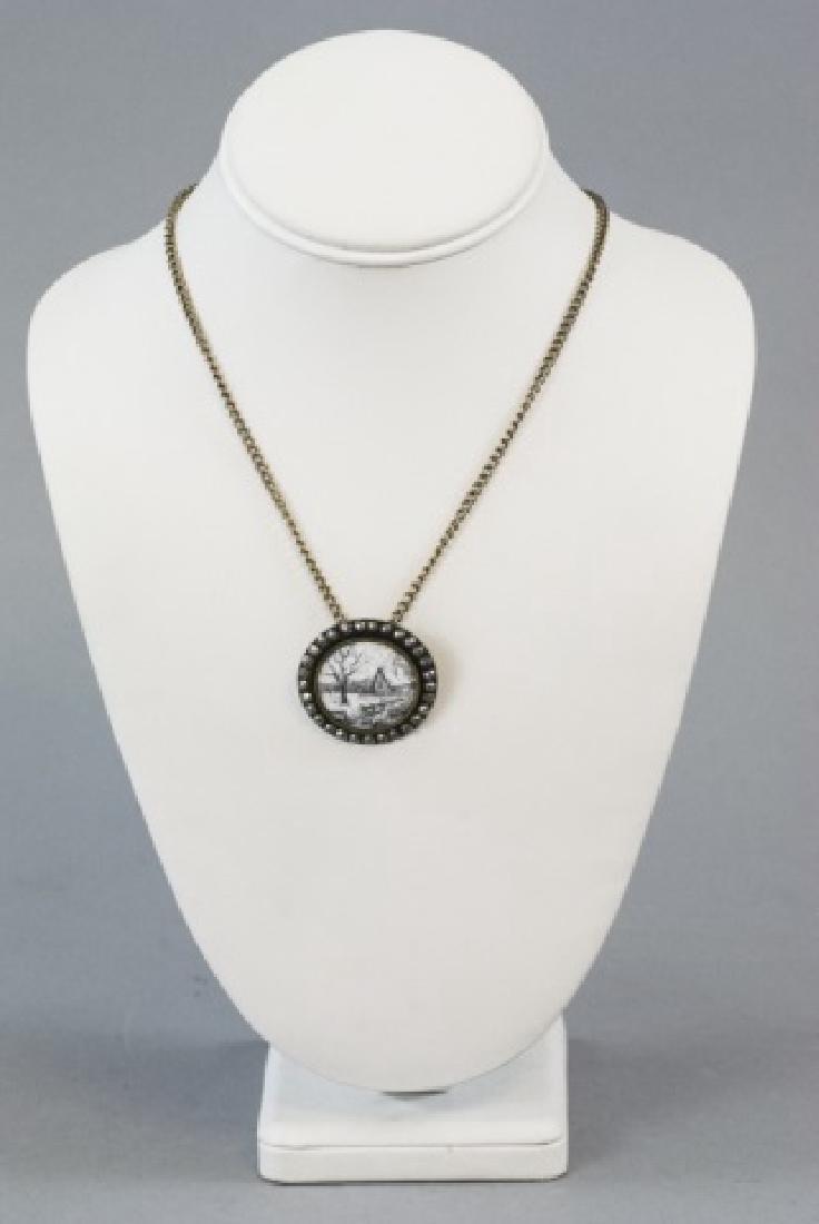 Antique 19th C Cut Steel & Enamel Button Necklace - 3