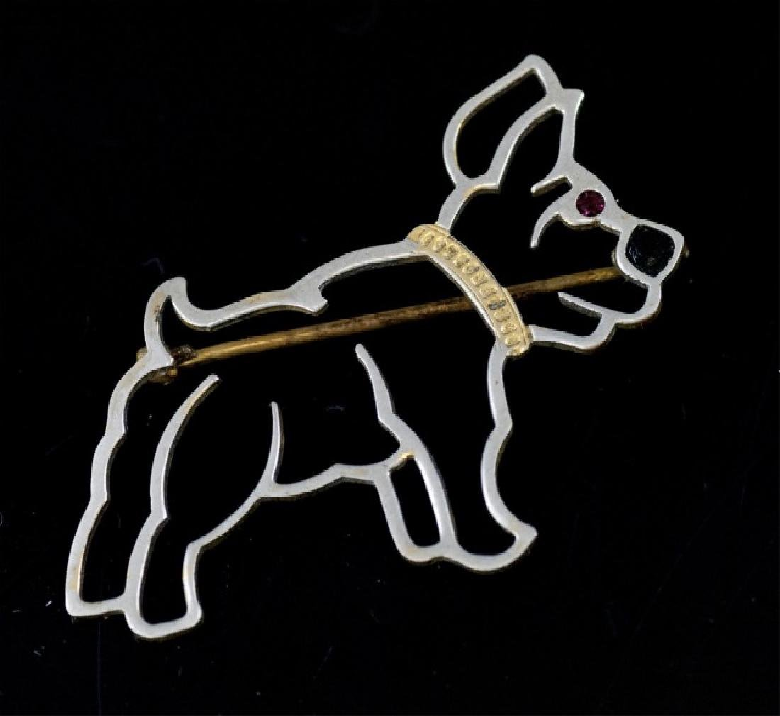 Antique Art Deco Mixed Metal Figural Dog Brooch