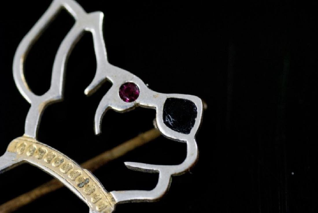 Antique Art Deco Mixed Metal Figural Dog Brooch - 4