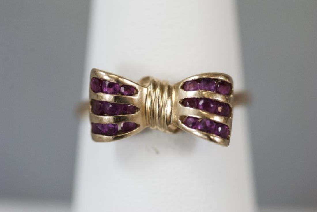 Estate 14kt Yellow Gold & Ruby Retro Bow Ring