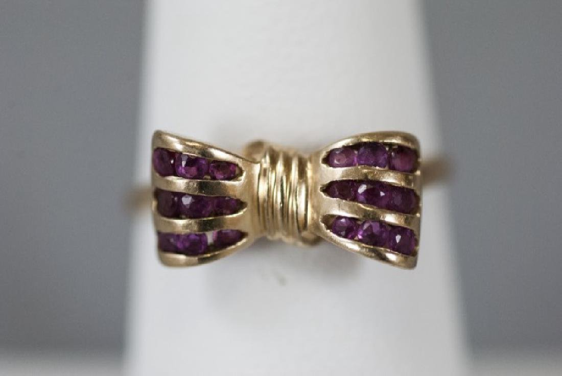 Estate 14kt Yellow Gold & Ruby Retro Bow Ring - 3