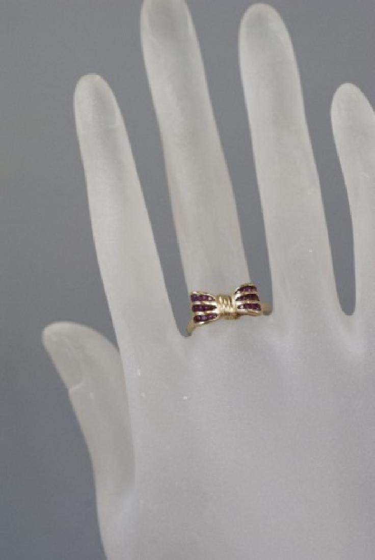 Estate 14kt Yellow Gold & Ruby Retro Bow Ring - 4