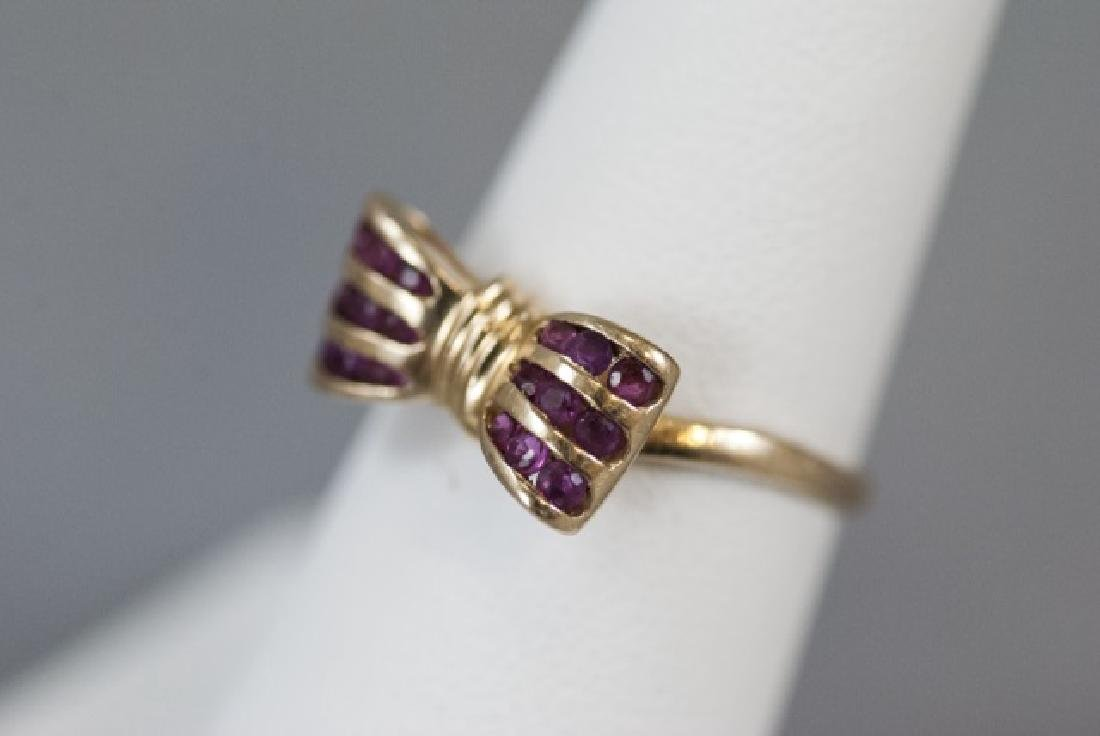 Estate 14kt Yellow Gold & Ruby Retro Bow Ring - 6