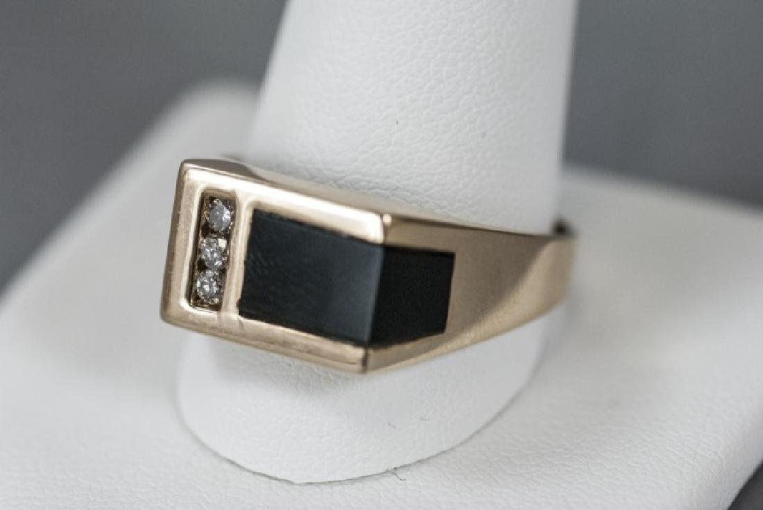 Retro 14kt Yellow Gold Diamond & Onyx Ring - 3