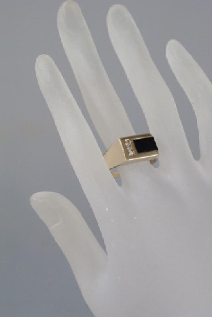 Retro 14kt Yellow Gold Diamond & Onyx Ring - 4