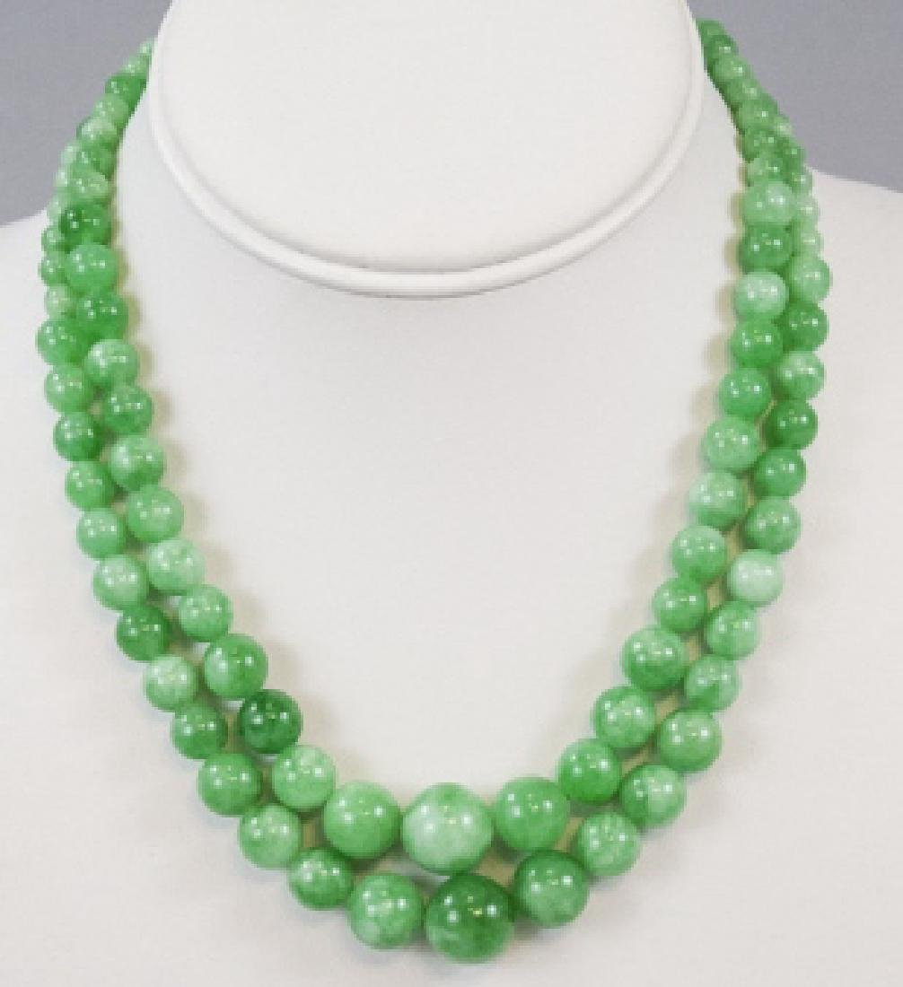 Pair Green / White Chinese Jade Necklace Strands