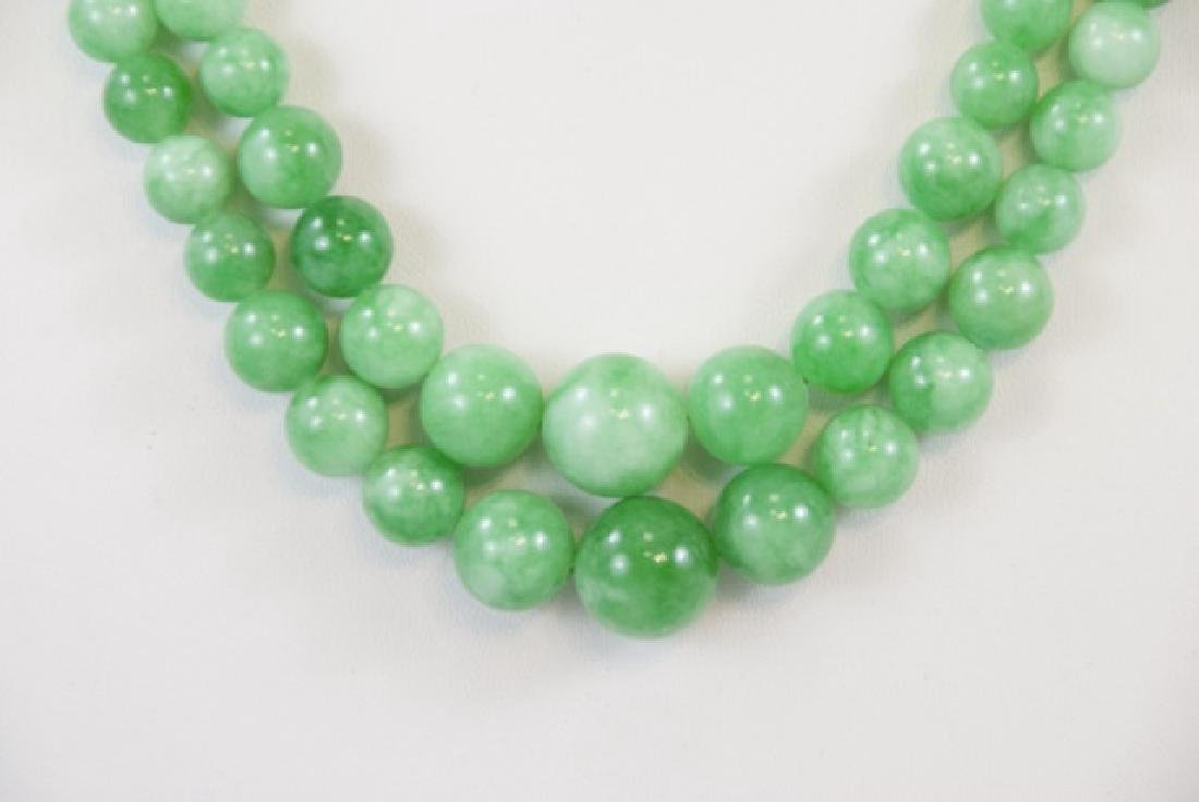 Pair Green / White Chinese Jade Necklace Strands - 2