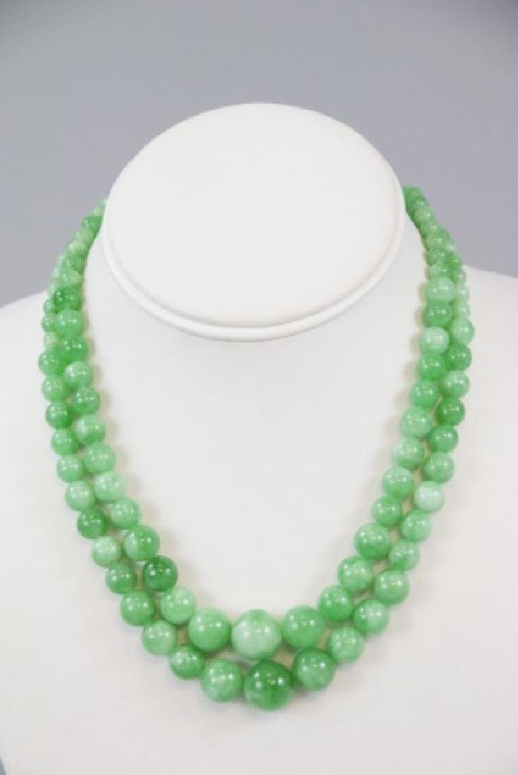 Pair Green / White Chinese Jade Necklace Strands - 4