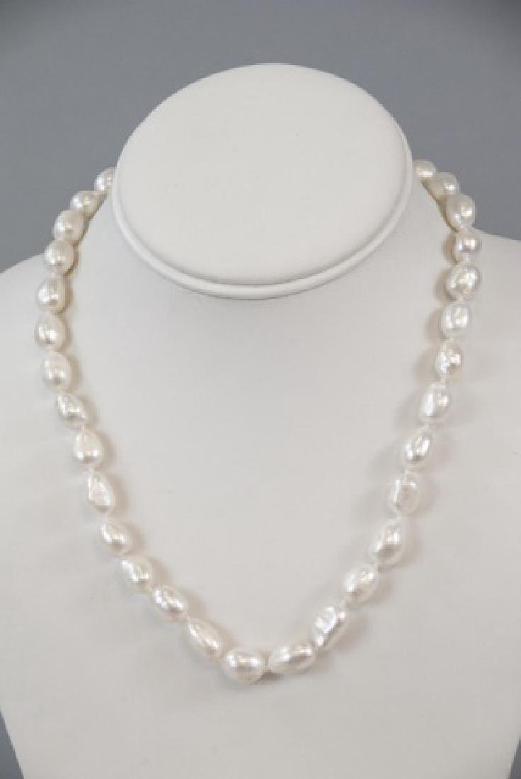 3 Baroque Style Pearl Necklaces & Stud Earrings - 10