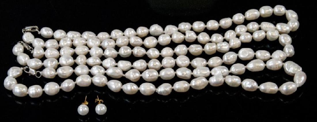 3 Baroque Style Pearl Necklaces & Stud Earrings