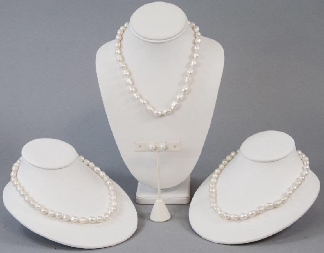 3 Baroque Style Pearl Necklaces & Stud Earrings - 2
