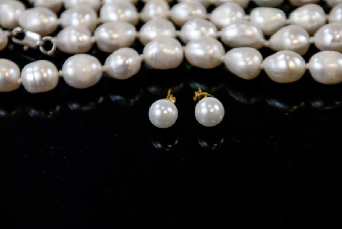 3 Baroque Style Pearl Necklaces & Stud Earrings - 4
