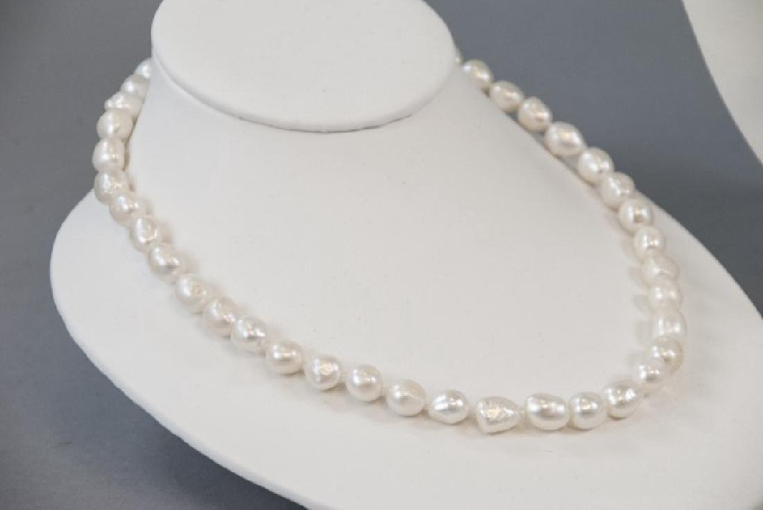 3 Baroque Style Pearl Necklaces & Stud Earrings - 7