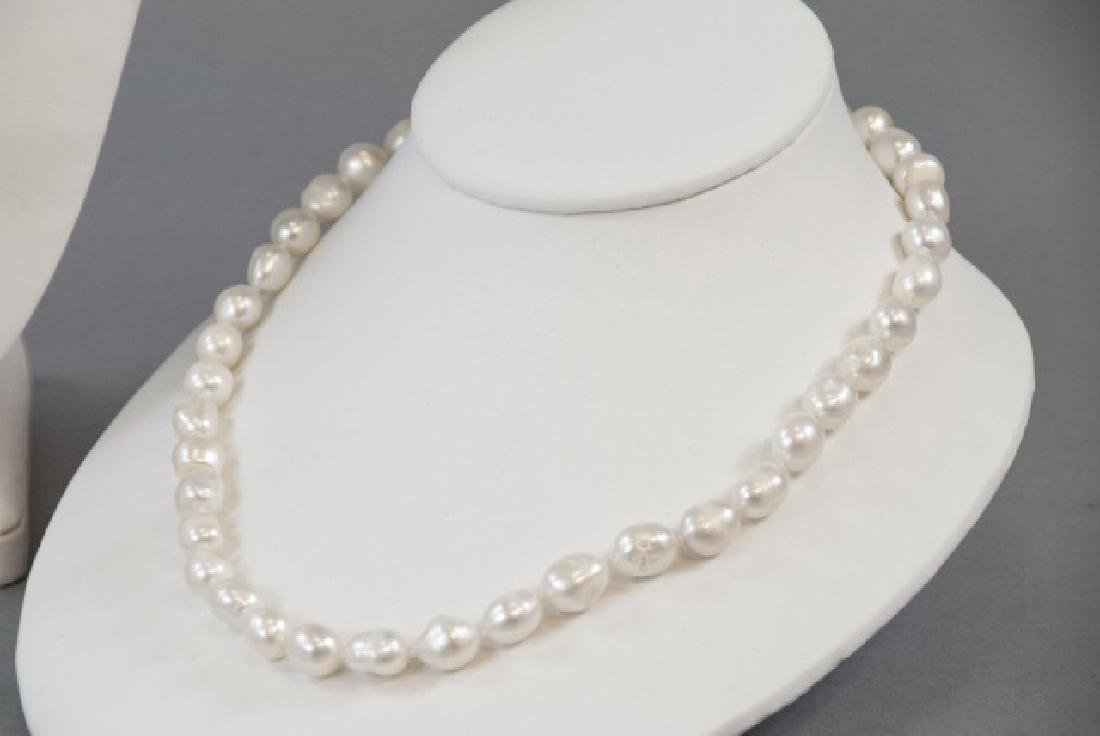 3 Baroque Style Pearl Necklaces & Stud Earrings - 8