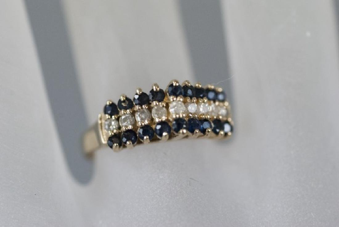 Vintage Gold Sapphire & Diamond Pyramid Ring