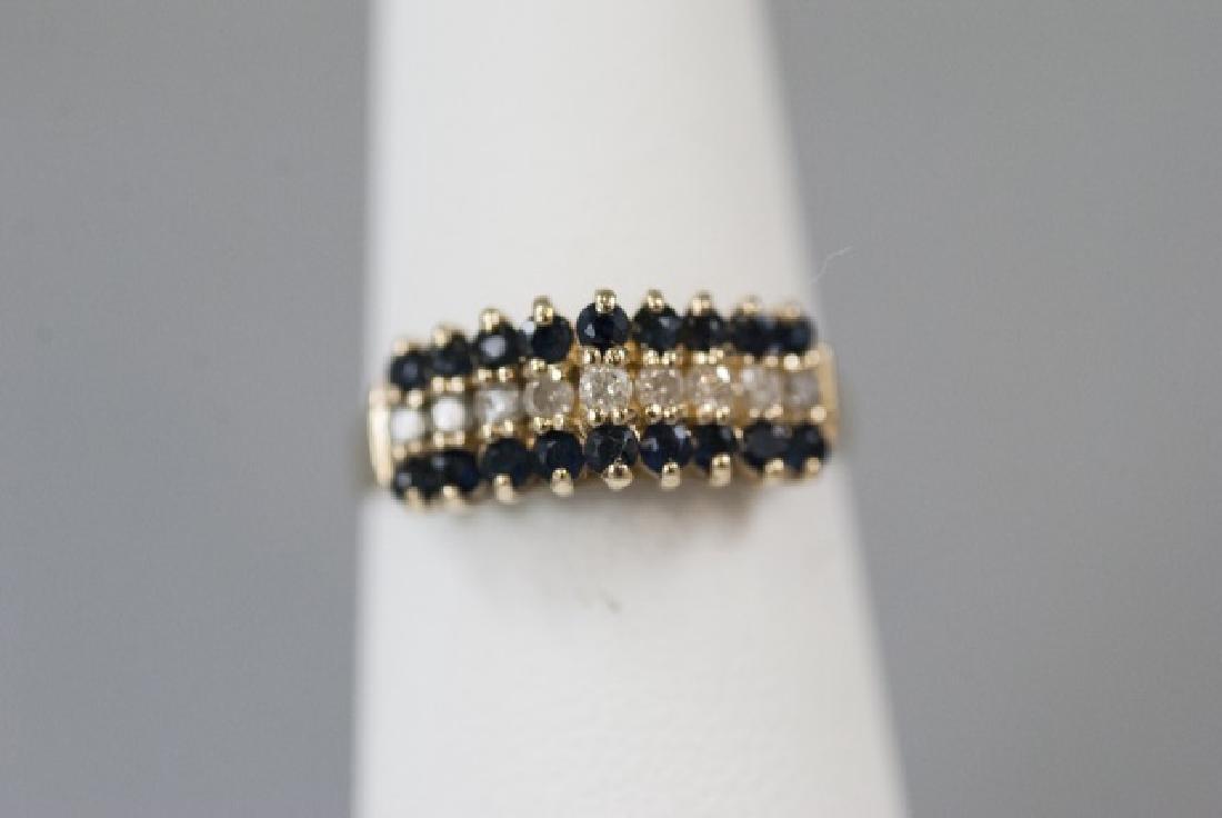 Vintage Gold Sapphire & Diamond Pyramid Ring - 2