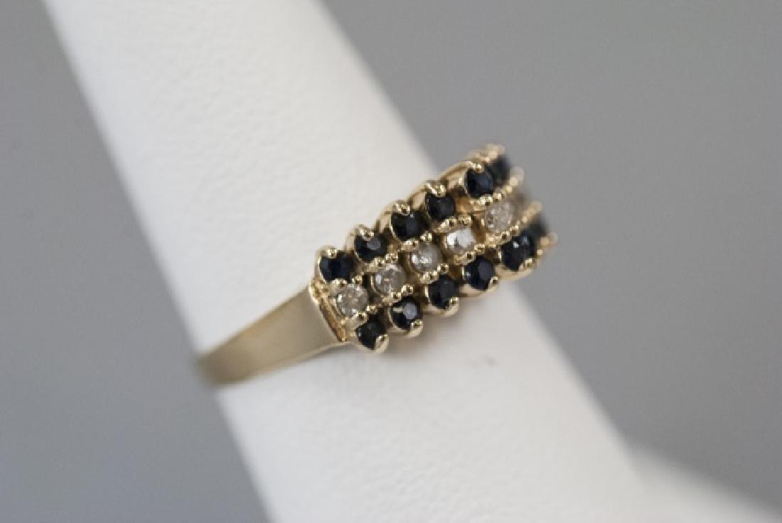 Vintage Gold Sapphire & Diamond Pyramid Ring - 3