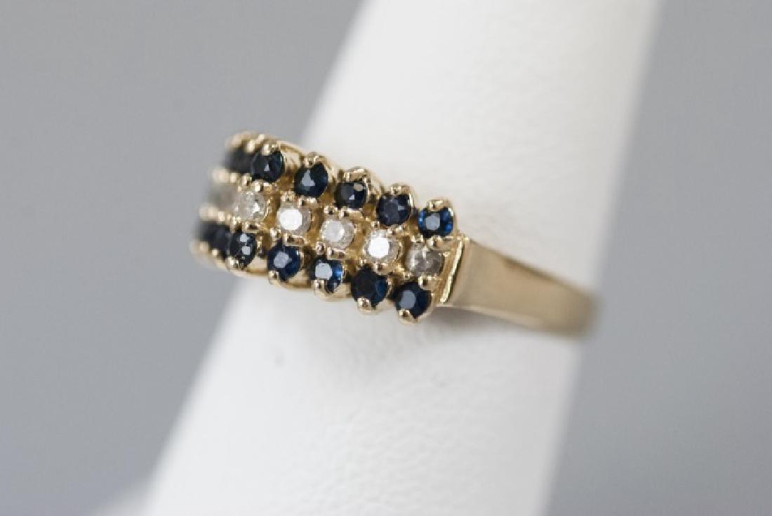 Vintage Gold Sapphire & Diamond Pyramid Ring - 4