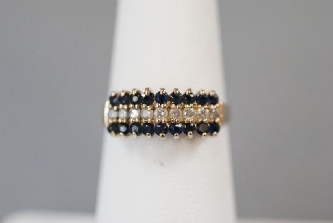 Vintage Gold Sapphire & Diamond Pyramid Ring - 5