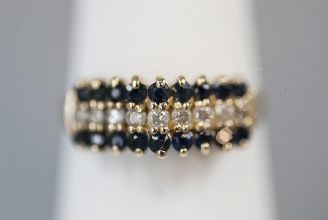 Vintage Gold Sapphire & Diamond Pyramid Ring - 6