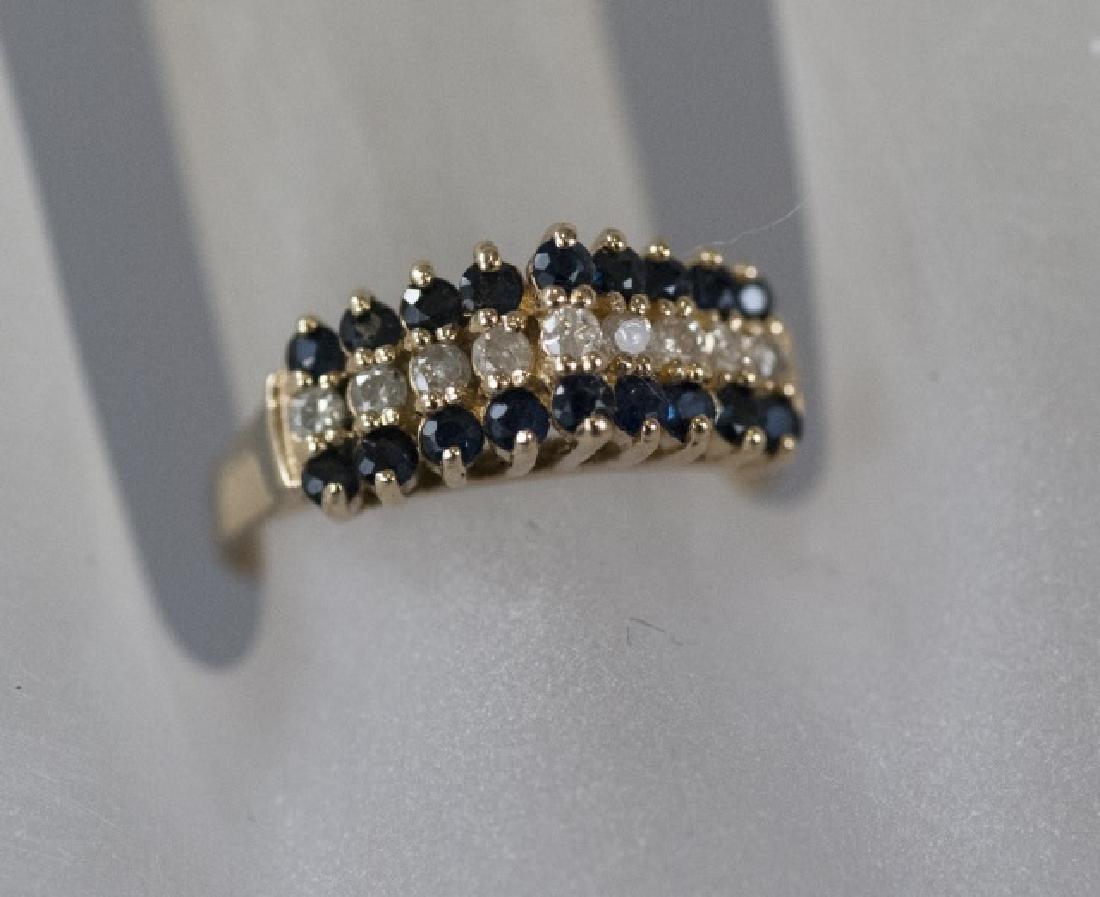 Vintage Gold Sapphire & Diamond Pyramid Ring - 8