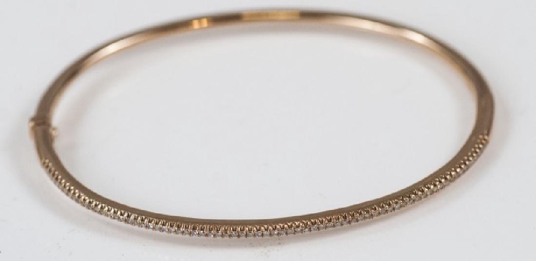 Contemporary 14kt Gold & Pave Diamond Bracelet