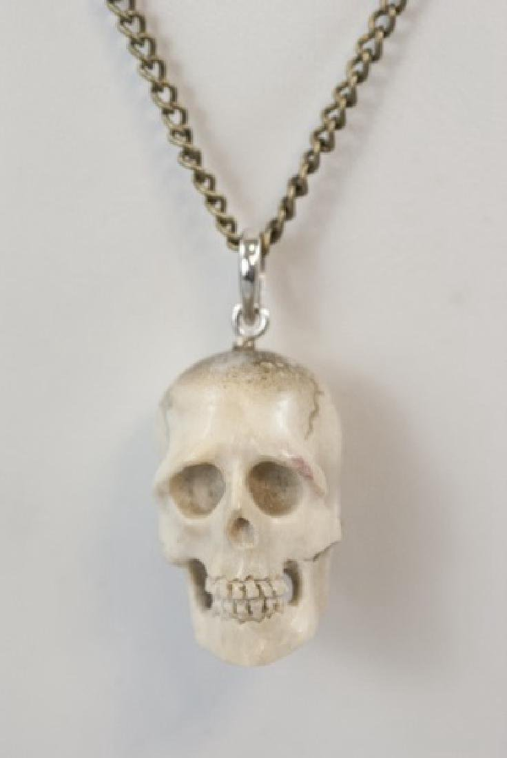 Hand Carved Horn Memento Mori Necklace Pendant